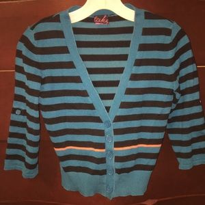 3/4 Sleeve Cropped Blue-green Striped Sweater